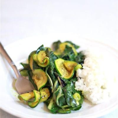 curried zucchini and swiss chard