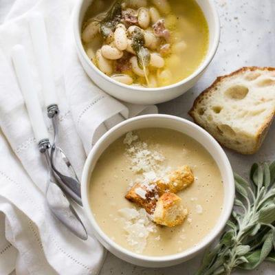 tuscan white bean soup, 2 ways