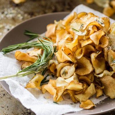 crispy sunchoke chips with lemon-rosemary salt