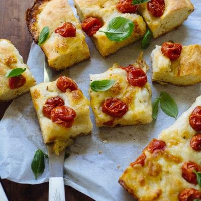 No-Knead Tomato Basil Focaccia Bread