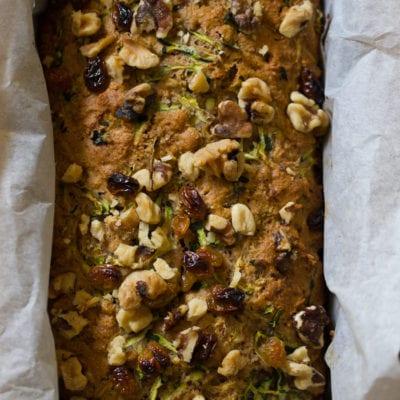 whole grain zucchini bread with honey & walnuts
