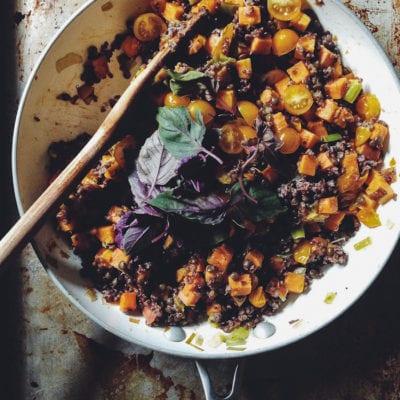 on the fly: sweet potato & lentil skillet