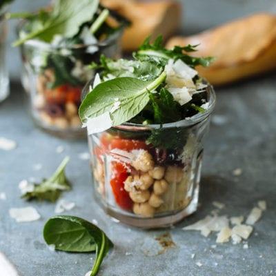 on the go: mediterranean kale salads in jars