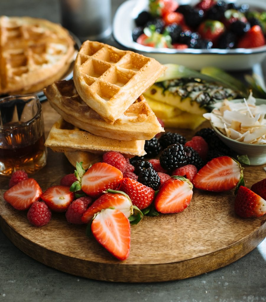 Stack of Sourdough Waffles with Fruit | theclevercarrot.com